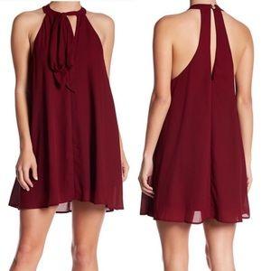 Show Me Your Mumu Tess Tie Front Dress Wine Midi